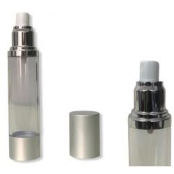 ΦΙΑΛΗ AIRLESS 50ml για υδαρή μείγματα, πλαστική διάφανη και βάση αλουμινίου σε ασημί καπάκι