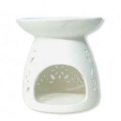 Βάση Κεραμική Αρωματικού Λαδιού Λευκή Διάτρητο Σχέδιο 11x11 cm